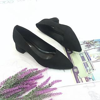 Giày cao gót nữ da lộn đế vuông 5p hàng VNXK dáng basic GC52