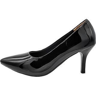 Giày Gót Nhọn Cao 7cm Dáng Xinh Trẻ Trung Đế Chắc Không Đau Chân 7P0316 (Đen Bóng)