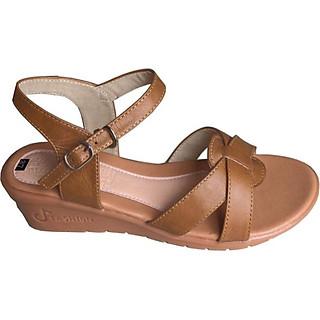 Dép nữ sandal Trường Hải đế xuồng da bò thật màu vàng Cao 5cm HÌNH ẢNH THẬT