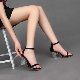 Sandal Nữ/ Giày Cao Gót Nữ Đẹp Hở Mũi Chất Da Lộn  Khóa Kéo Gót Chân Đế Vuông Trong Suốt Cao Cấp Cao 7 Cm Phong Cách Hàn Quốc.