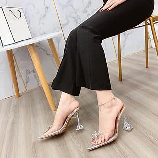 Giày Cao Gót Sandal Quai Trong NƠ Đá Gót 9p Siêu Đẹp KÈm Cặp Miếng Lót Mũi Giày
