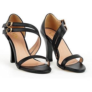 Giày sandal nữ cao gót 7CM, da Microfiber nhập khẩu cao cấp êm ái. Mũi tròn, gót vuông  vững trãi: SD.V10.7F