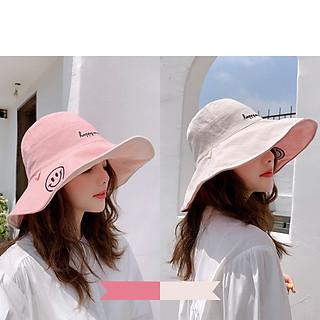 Mũ Vải Smile Nữ Vành Rộng 2 Mặt Chống Tia UV Phong Cách Hàn Quốc ( Nhiều Màu )