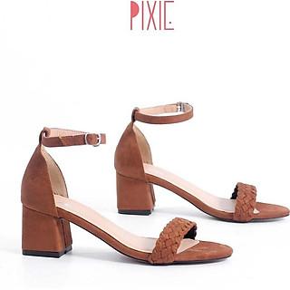 Giày Sandal Cao Gót 5cm Da Lộn Gót Vuông Quai Hậu Pixie X473