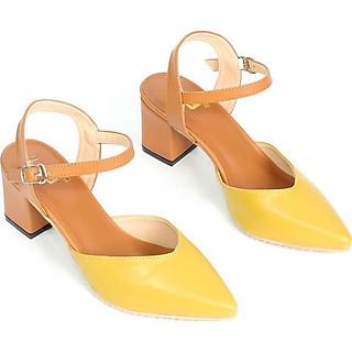 Giày Cao Gót 5cm Bít Mũi Phối Màu Quai Hậu S515