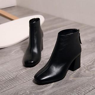 Giày Bốt Nữ Đế Vuông 5cm Ảnh Thật Cuối Mã H63