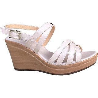 Giày sandal nữ Trường Hải đế xuồng cao 9.5cm màu kem đế PU nhẹ thời trang cao cấp nữ XDN193