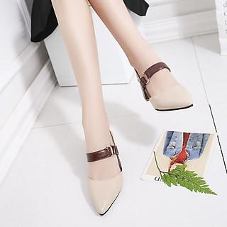 Giày Cao Gót Nữ Thời  Trang Quai Chữ C  Bít Mũi Đế Vuông Cao Cấp Cao 7 Phân, Phong Cách Hàn Quốc SEE-PN01.