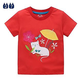 Áo thun bé gái, áo cho bé gái, áo thêu hình cho bé gái chất cotton 100%, áo bé gái đáng yêu