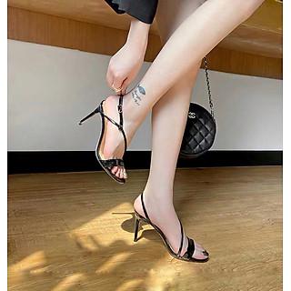 Giày cao gót sandals 9 phân màu đen
