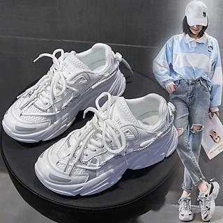 Giầy thể thao Nữ Sneaker dây kép phản quang, lót hơi độn đế siêu êm hottrend 2020
