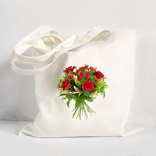 Túi Vải Đeo Vai Tote Bag In Hình Bó Hoa - Mẫu003