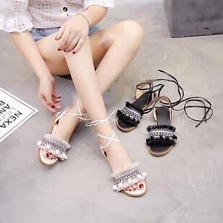 Giày sandal cột dây chiến binh thổ cẩm