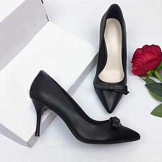Giày cao gót da mềm cao cấp nơ xếp nhọn 7cm màu đen