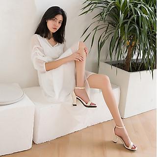 Giày cao gót nữ đế vuông 7 phân mũi tròn da bóng bít gót quai ngang sang trọng TẶNG 1 cặp lót gót giày khử mùi êm chân