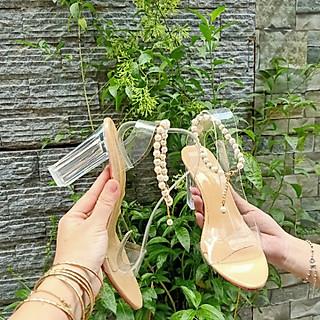 Giày Cao Gót Quai Chuỗi Ngọc Cao 7 Phân | CG44 Màu Nude