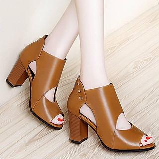 Giày cao cổ nạm kim loại Monte màu nâu bò