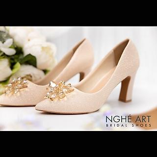 Giày cưới Nghé Art handmade ren kim tuyến nude hoa đá 321