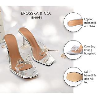 Dép cao gót thời trang Erosska mũi vuông quai mica trong suốt đính nơ đá sang trọng cao 9cm EM064