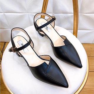 Giày sandal nữ quai ngang, giày cao gót nữ đế vuông mũi nhọn cao 5p, form chuẩn màu kem