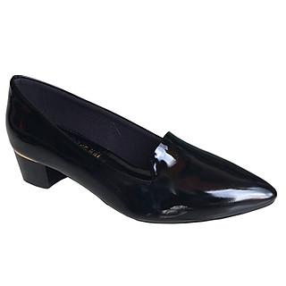 Giày cao gót nữ cao 3cm đen Trường Hải da bóng đế vuông CGN124