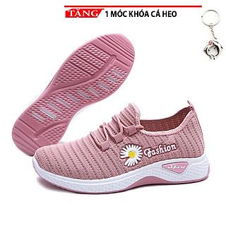 Giày Sneakers dạo phố nữ cổ thấp hoa cúc thời trang mẫu mới  SD01 Kèm móc khóa cá heo