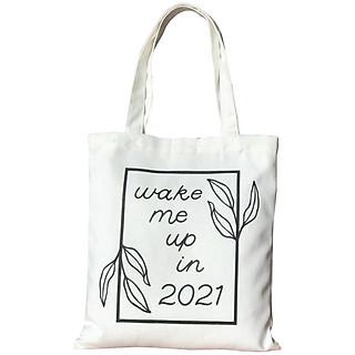 Túi Tote Thời Trang Nữ Vải Bố Canvas Màu Trắng Tinh Dạng Quai Xách In Wake Me Up In 2021 Có Nút Bấm Trên Miệng Và Ngăn Phụ Trong – Mẫu Hot Trend