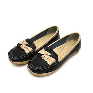 Giày Thái Lan moca nữ, giày lười nữ da bò mềm chuyên dụng đi bộ LK82-008 màu đen đậm Black