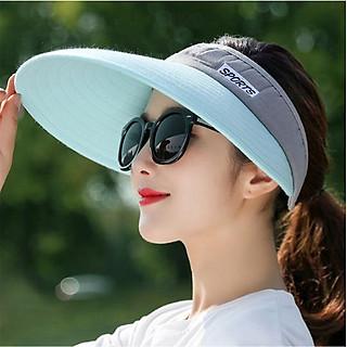 Mũ rộng vành chống nắng nửa đầu cao cấp, nón chống nắng chống uv thời trang màu xanh ngọc