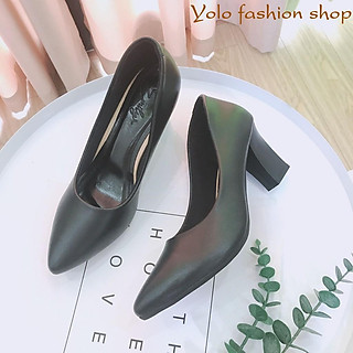 Giày cao gót nữ da lì đế vuông 7cm dáng basic hàng VNXK da mềm êm chân -HC02