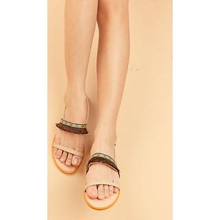 Dép Sandal Nữ Thổ Cẩm Boho Vintage Quai Ngang Hở Mũi Đế Cao 2cm  SESDTC05 (Video Thật-Tặng Túi Tote Thời Trang mẫu ngẫu nhiên )