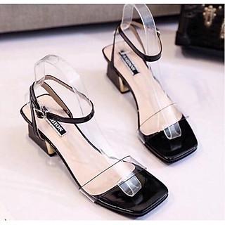 Giày Sandal Gót Bọc Đồng Quai Trong- Mã H2