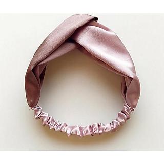 Băng đô turban nữ TB01B bản to phối màu nâu nhạt hồng nhạt