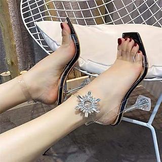 Giày cao gót 9p - SHOP NHƯ Ý - Gót nhọn quai đính đá sang trọng cao cấp (CG Tuyết)