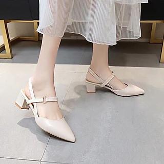 Sandal cao gót nữ, giày cao gót thời trang nữ mũi nhọn đế hình trụ cao 5p
