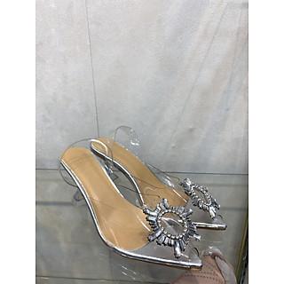 Giày cao gót đế vuông màu trắng