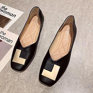 A003# Giày sandal đế thấp mũi vuông phong cách thời trang thanh lịch cho nữ