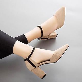Giày cao gót 7cm nữ da lộn bít đầu đế vuông đẹp