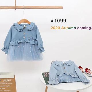 Váy bò cổ bẻ cho bé gái 1099 váy mặc đi học đi chơi
