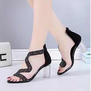 Giày cao gót nữ gót trong quai kim tuyến zik zak  cao 8cm  2 màu Đen và Vàng - Linus LN130