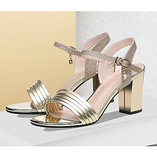 Giày nữ đẹp cao gót 7cm kim tuyến hở đầu đế vuông sang trọng