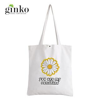Túi Vải Tote GINKO Kiểu Basic Nút Bấm In Hình You Are My Sunshine G67