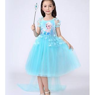 Váy đầm công chúa Elsa có tà dài chất voan mềm