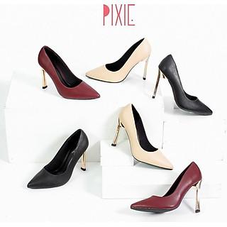 Giày Cao Gót 9cm Gót Vàng Mảnh Màu Đen Pixie X463