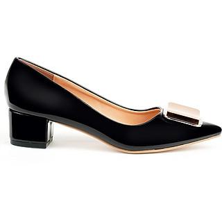 Giày cao gót nữ 3CM, da bóng cao cấp . Mũi nhọn gắn họa tiết kim loại, gót vuông  sang trọng và chắc chắn: BL.MHT25.3F