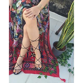 Giày sandal cột dây chiến binh dây nhỏ, có thể cột cao lên đầu gối, hoặc cột ở cổ chân cho gọn, phù hợp để đi làm, đi học, đi chơi - ngang