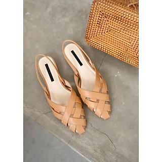 Giày Sandal Nữ Mũi Nhọn Quai Hậu Thun Đan Rọ 2P Phong Cách Thời Trang Hàn Quốc