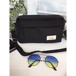 Túi tote đeo chéo vải canvas hộp nhỏ- đen