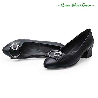 Giày búp bê nữ đính nơ cao cấp, giày trung niên nữ gót vuông 4 phân mũi nhọn da mềm hàng VNXK màu đen đế cao su đúc siêu mềm tôn dáng lót êm ái size 36 đến 40 - Cam kết hàng chất lượng - Nơ B 4 phân