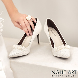 Giày cưới Nghé Art giày cưới kim tuyến hoa hồng lụa trắng 217